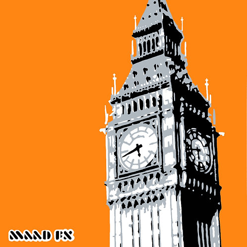 Orange - Big Ben London - hand made graffiti screen prints