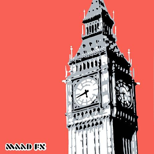 Red - Big Ben London - hand made graffiti screen prints