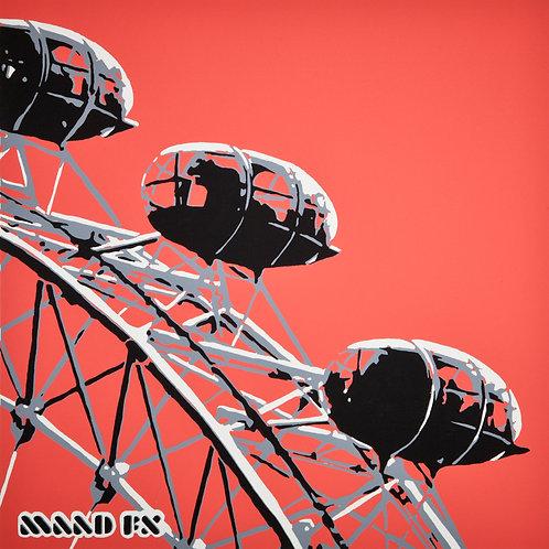 Red - London Eye - handmade screen prints