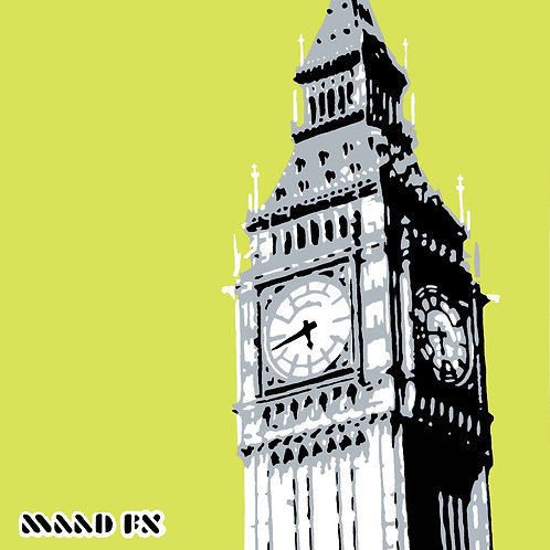 Green - Big Ben London - hand made graffiti screen prints