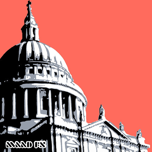 Red - St Paul's London - handmade graffiti screen prints