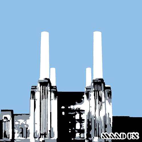Pale Blue - Battersea Power Station - handmade screen prints