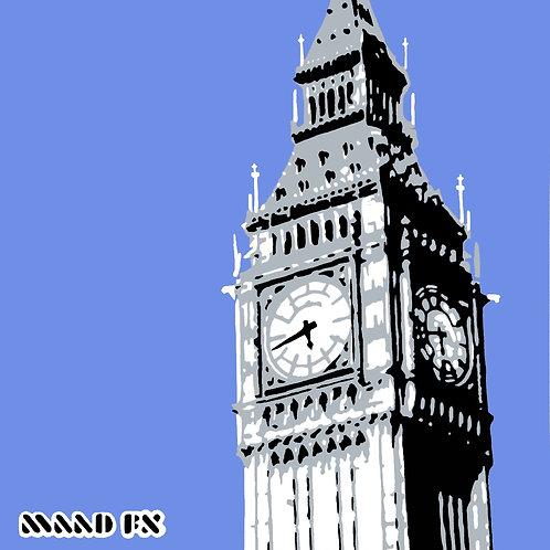 Blue - Big Ben London - hand made graffiti screen prints