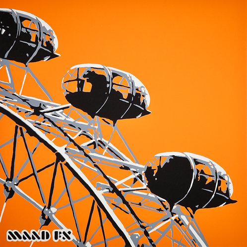 Orange - London Eye - handmade screen prints