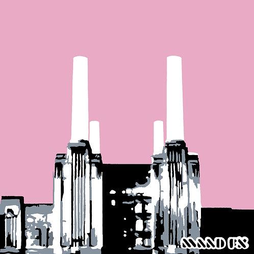 Pink - Battersea Power Station - handmade screen prints