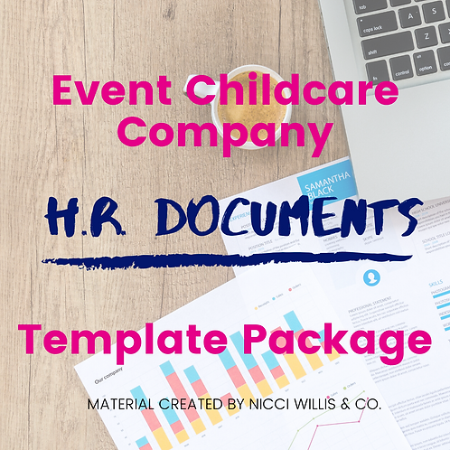 Event Childcare Company HR Documents Template Package