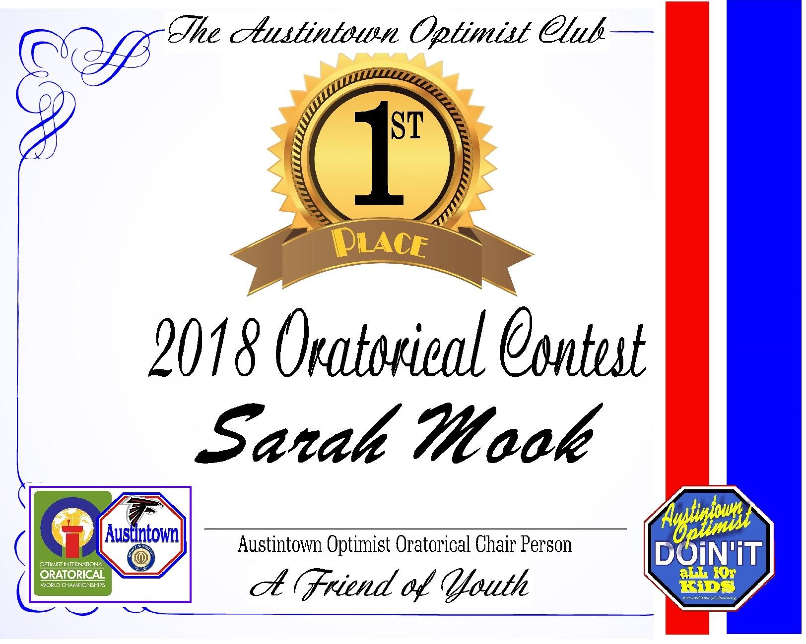 2018 ORATORICAL WINNER CERTIFICATE
