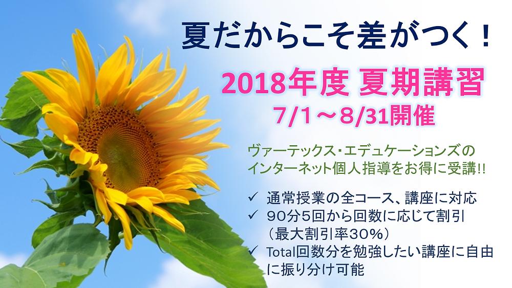 2018年度 VARTEX夏期講習詳細