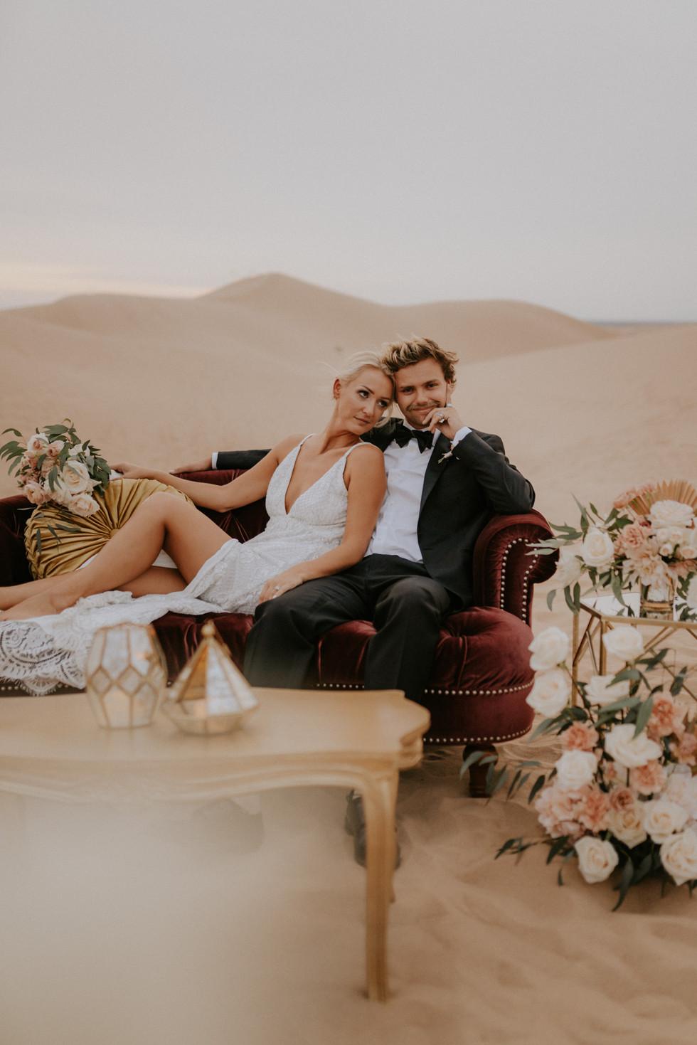 Bride and groom desert elopement wedding