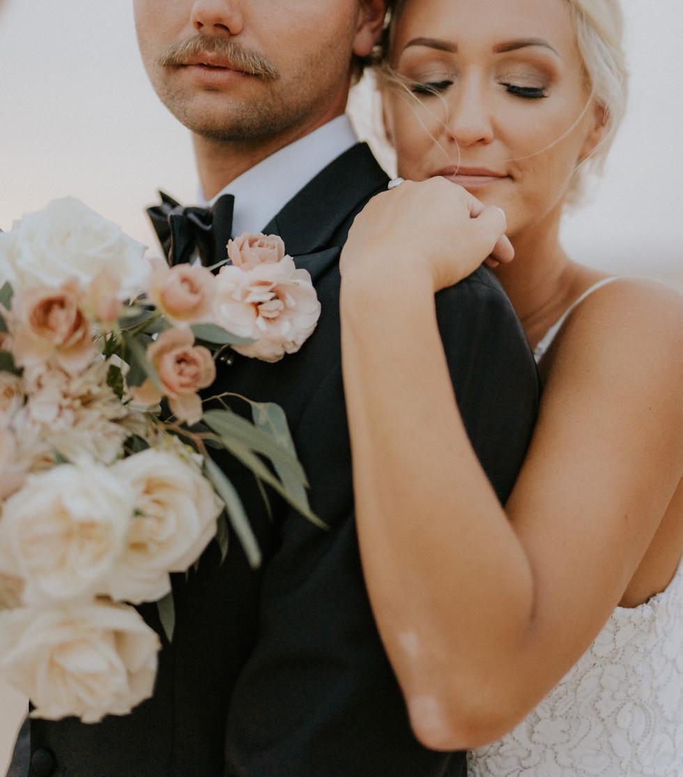 Bride and groom desert wedding elopement