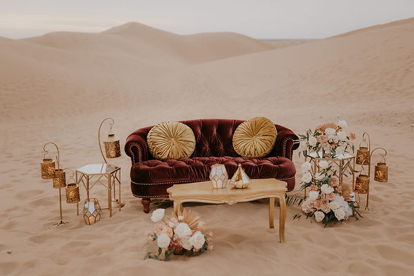 Desert elopement wedding with couch and