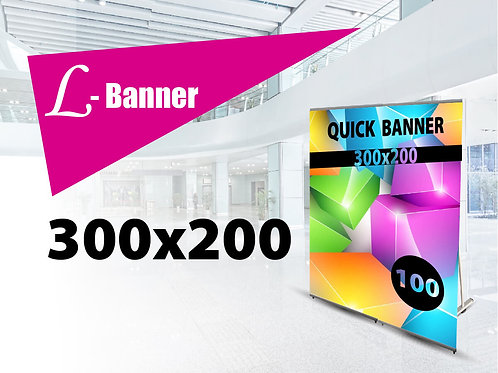 Quick L-banner Strong 300x200 cm