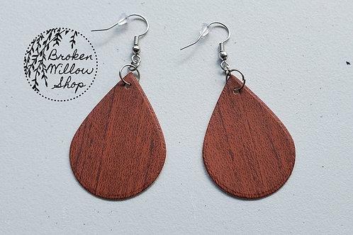 Wood Faux Leather Teardrop Earrings