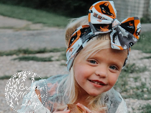 Halloween Print Fabric Knit Head Wrap, Baby Big Bow, Headwrap, Bow