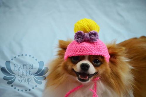 ANY Sizes/Colors Pet Messy Bun Bow Hat Beanie (XS-XL) Pony Tail
