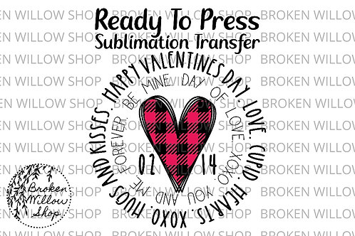 Plaid Heart Ready to Press Sublimation Transfer, Valentine's Day, Holiday