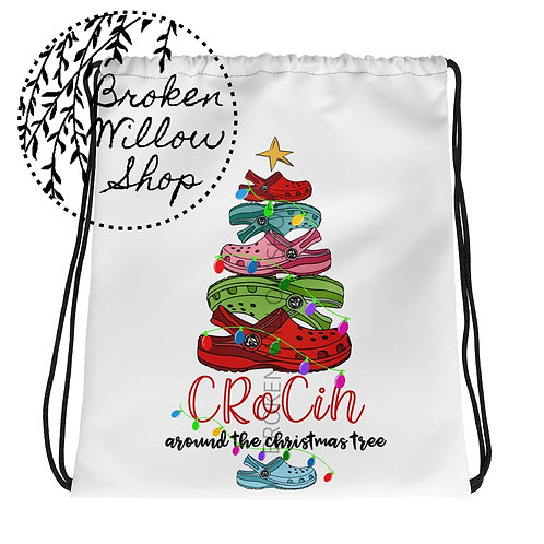 Crocin Around the Christmas Tree Drawstring Bag
