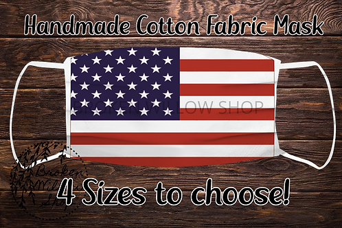 Sublimated USA Flag 100% Cotton Face Mask