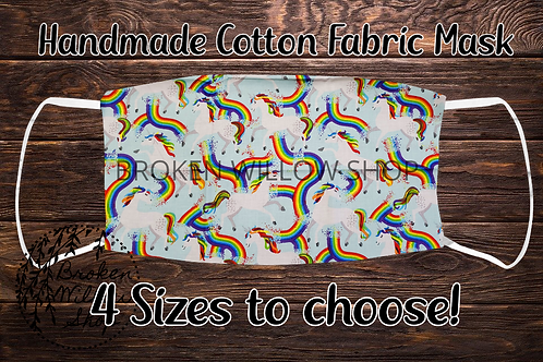Unicorns & Rainbows Handmade 100% Cotton Face Mask, Choose From 4 Different Size