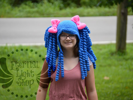 ALL SIZES/COLORS Kawaii Curly Hair Pigtail Wig Hat Big Bows