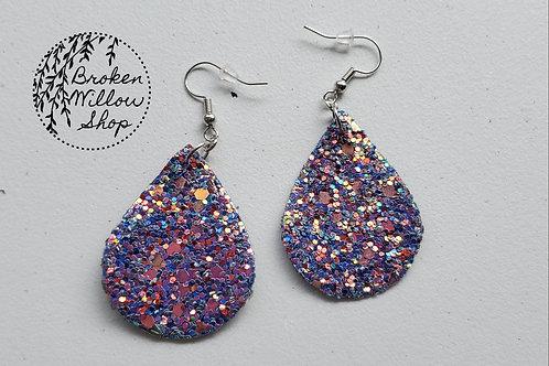 Blue Cunky Glitter Faux Leather Teardrop Earrings