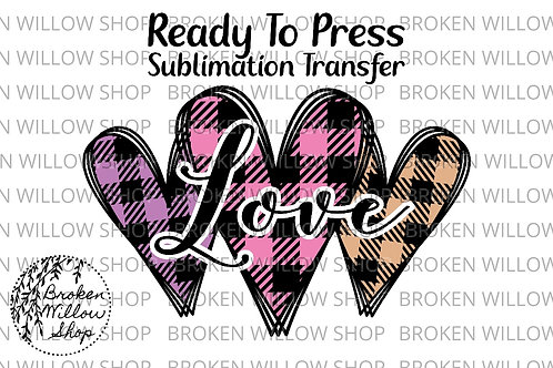 Plaid Hearts Ready to Press Sublimation Transfer, Valentine's Day, Holiday