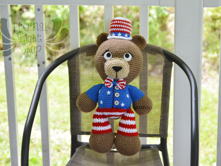 "4th of July Independence Day Crochet Teddy Bear 18"" Tall"