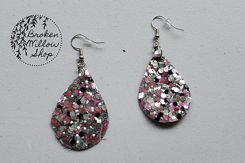 Pink, Black and White Chunky Glitter Faux Leather Teardrop Earrings