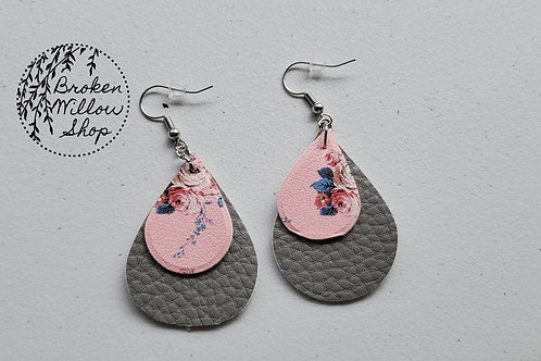 Floral Pink and Grey Faux Leather Teardrop Earrings