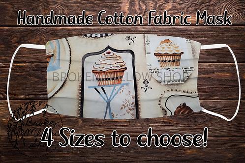 Cupcakes Handmade 100% Cotton Face Mask