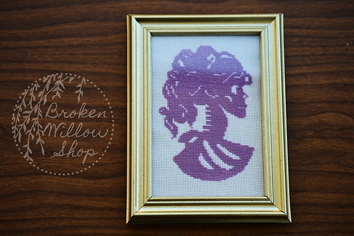 "READY TO Ship Skull Lady Silhouette Cameo 4x6"" UNFRAMED"