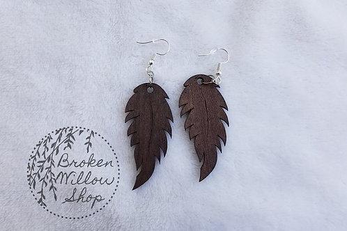 Feather V1 Bass Wood Teardrop Earrings
