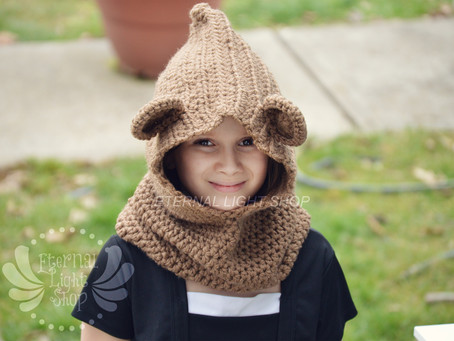 Bear Crochet Hooded Cowl/Scoodie