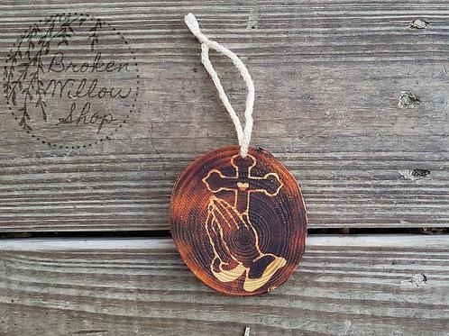 Praying Hands & Cross Burned Wood Art Ornament