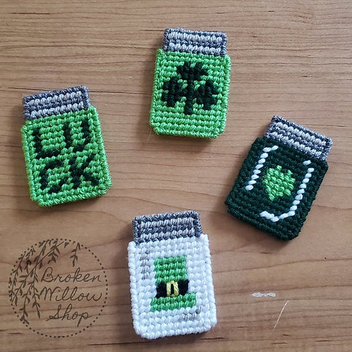 St. Patricks Day Jars Plastic Canvas Magnets. Choose 1 or all 4!