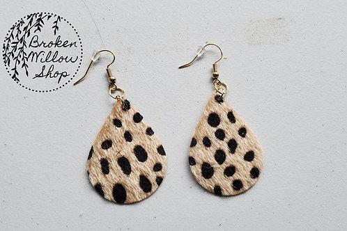Fuzzy Leopard Spot Faux Leather Teardrop Earrings