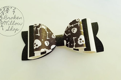 Skeleton Double Faux Leather Bow