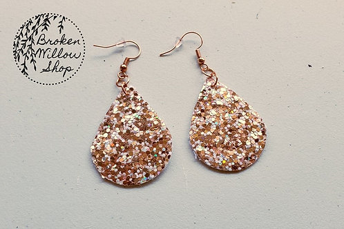 Rose Gold Chunky Glitter Faux Leather Teardrop Earrings