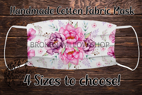 Sublimated Pink Flowers 100% Cotton Face Mask