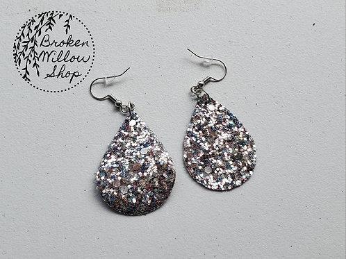 Chunky Silver Glitter Faux Leather Teardrop Earrings