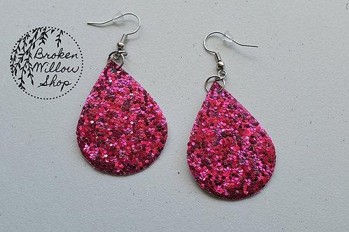 Dark Pink Chunky Glitter Faux Leather Teardrop Earrings