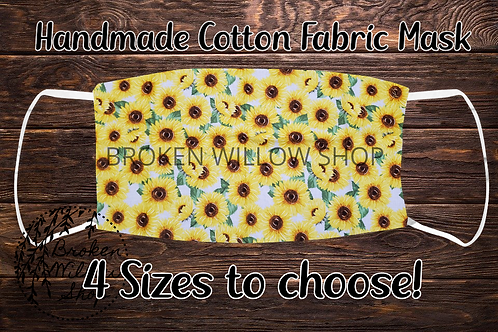 Sunflowers Handmade 100% Cotton Face Mask, Choose From 4 Different Sizes