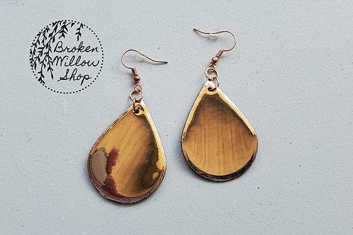 Rose Gold Mirror Finish Faux Leather Teardrop Earrings