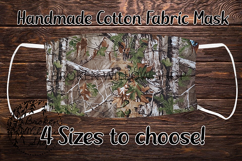 Camo Handmade 100% Cotton Face Mask, Choose From 4 Different Sizes