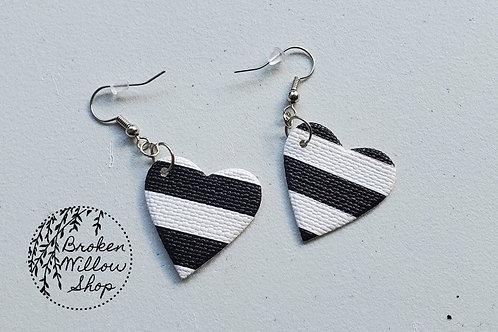 Black and White Stripes Hearts Faux Leather Teardrop Earrings
