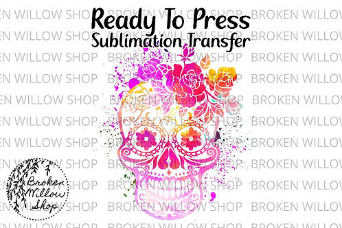 Colorful Skull Ready To Press Sublimation Transfer