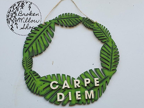 "READY TO SHIP ""Carpe Diem"" Wooden Wreath Hand Painted Glitter Letters 12"" x 12"""