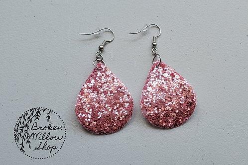 Pink Chunky Glitter Faux Leather Teardrop Earrings