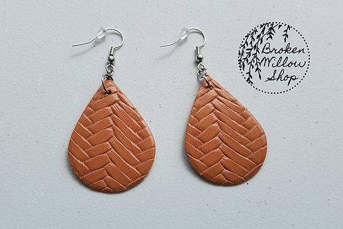 Brown Basket Weave Textxure Faux Leather Teardrop Earrings