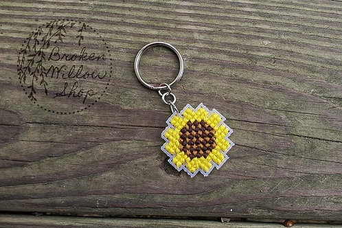 Cross Stitched Sunflower Keychain Plastic Canvas Art